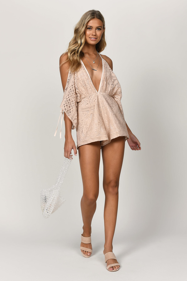 2bb6c266850 Rose Gold Romper - Plunging Romper - Rose Gold Lace Romper - Cold ...