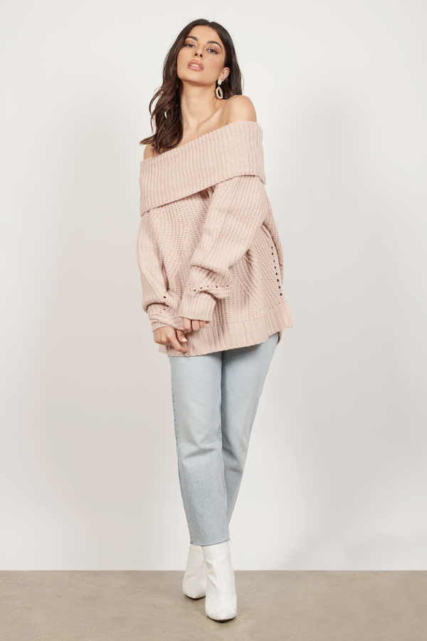 Red Sweater Foldover Sweater Off Shoulder Sweater