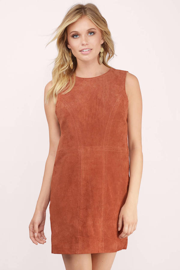 Shifting Sides Genuine Suede Dress