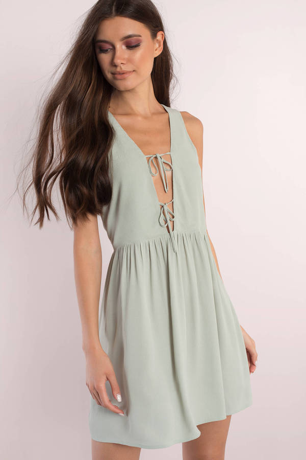 8f702fe55a Green Shift Dress - Deep V Dress - Sleeveless Dress - S  29