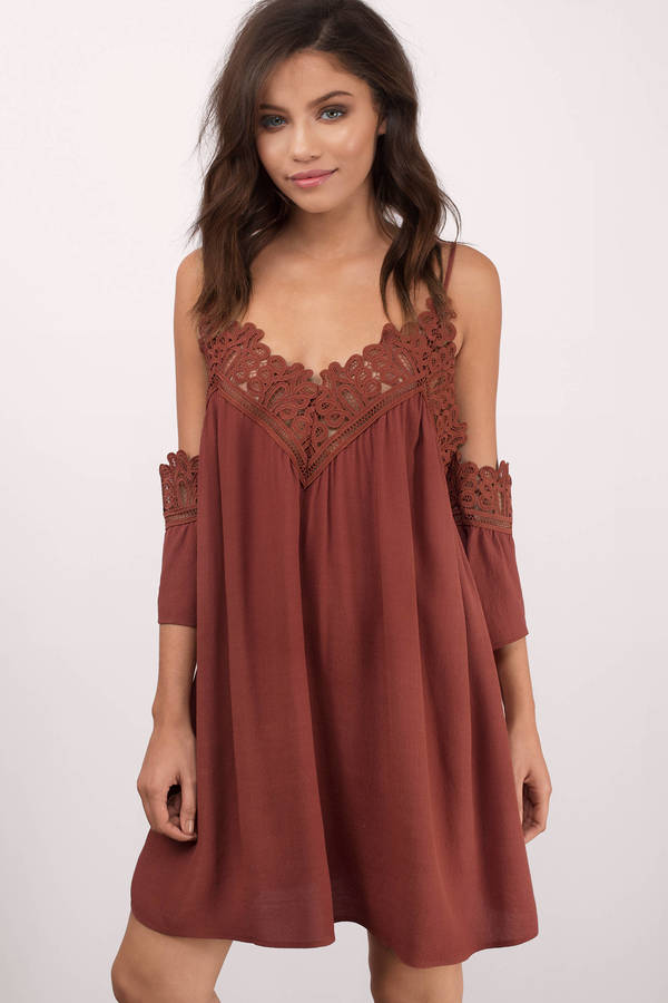 Sexy Sienna Dress Cold Shoulder Dress Half Lace Dress