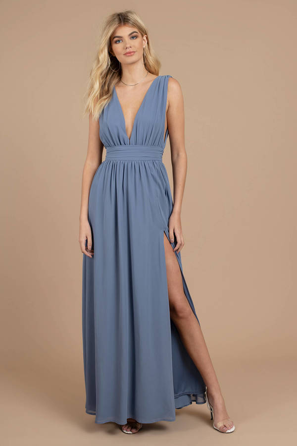 9e93354cb3 Blue Maxi Dress - Wedding Guest Dress - Blue Bridesmaid Dress - Slit ...
