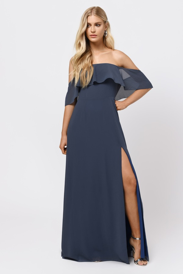 Wedding Guest Dresses Slate Into You Ruffle Top Maxi Dress