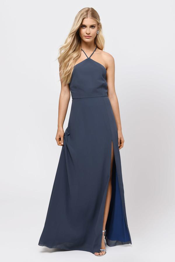 6e8873a10d Blue Grey Maxi Dress - High Slit Dress - Blue Grey Halter Dress ...
