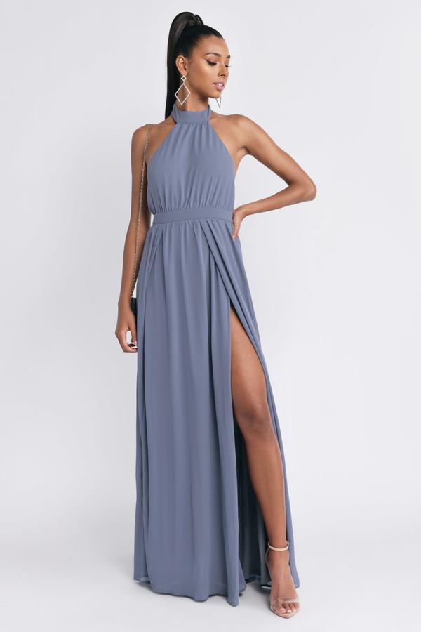2110699a0 Sexy Blue Maxi Dress - Bridesmaid Dress - Blue Backless Maxi Dress ...