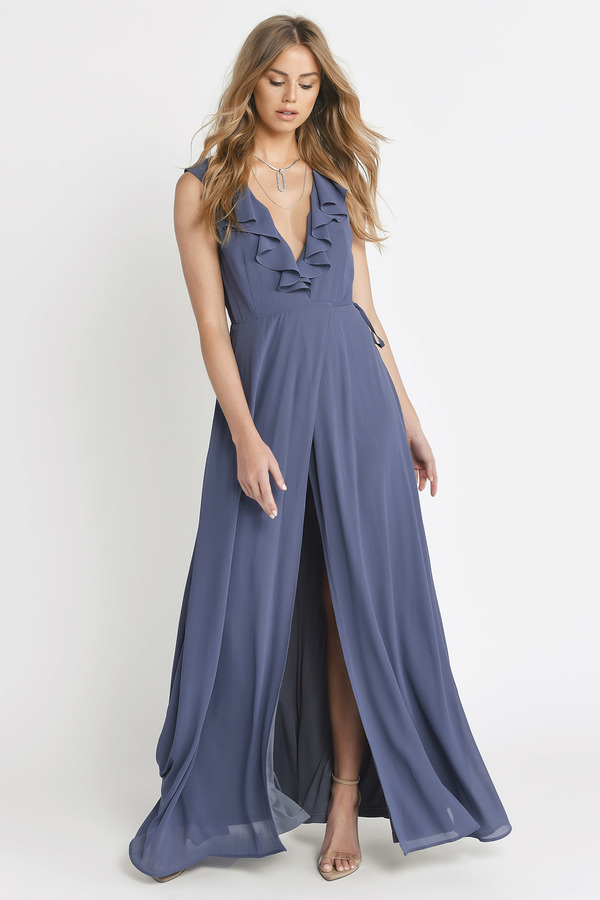 Blue Dresses Slate Treasure Me Ruffle Maxi Dress