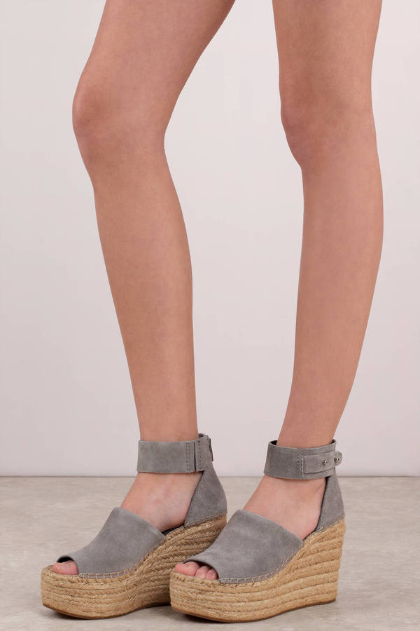 Grey Dolce Vita Wedges - Ankle Wrap