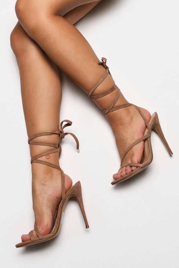 Strappy Heels Black Suede Sandal Heels Nude Strappy Heels Tobi