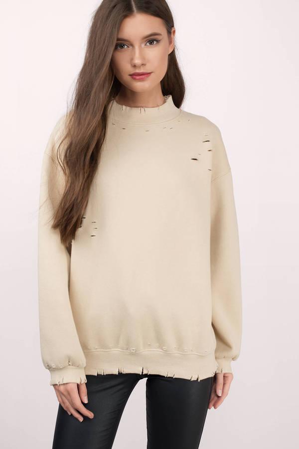 2fa74a8ac973ca Trendy Tan Sweatshirt - Distressed Sweatshirt - Tan Hoodie - $58 ...