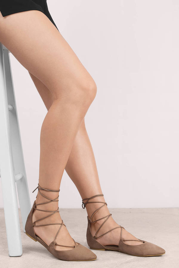 78e14027aff Cute Taupe Flats - Suede Flats - Pointed Toe Flats - Lace Up Flats ...