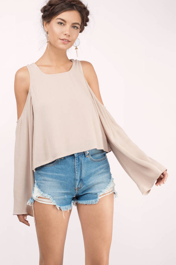 cf7fc6c8d484f Taupe Blouse - Cold Shoulder Blouse - Long Sleeve Blouse - Taupe Top ...