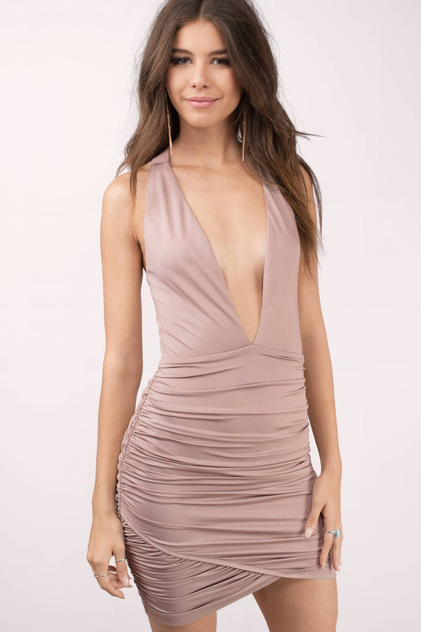 11289be05d Taupe Dress - Bandage Dress - Ruched Dress - Polyester Bodycon Dress ...