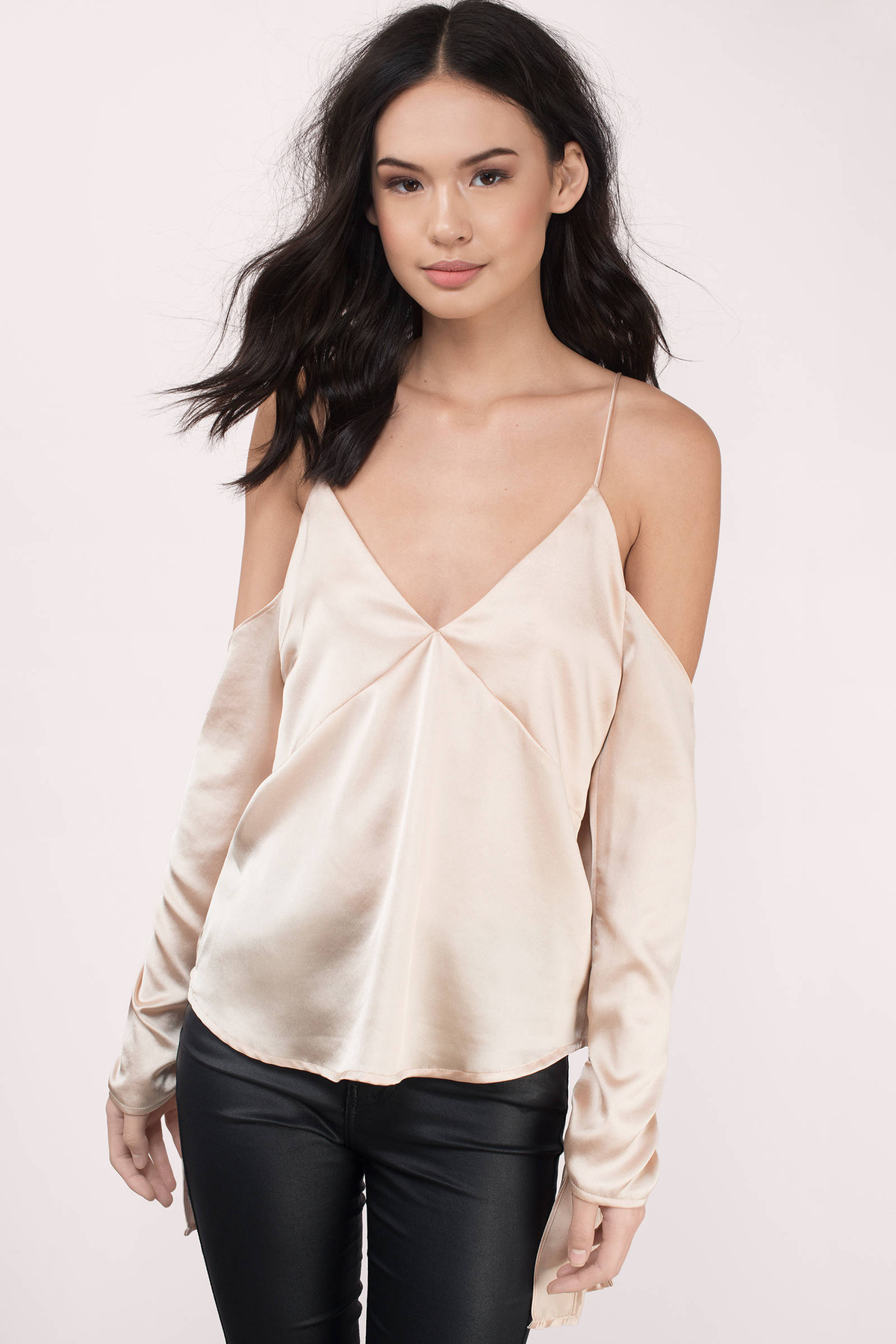 Trendy Taupe Blouse - Cold Shoulder Blouse - $62.00