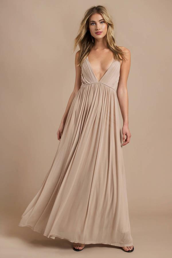 Wine Dress - Pleated Dress - Deep V Dress - Sweep Dress - Maxi Dress ...
