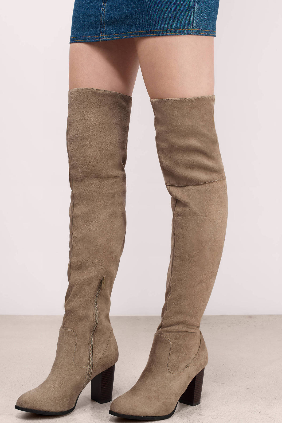 Trendy Taupe Boots - Beige Boots - Suede Boots - $45.00