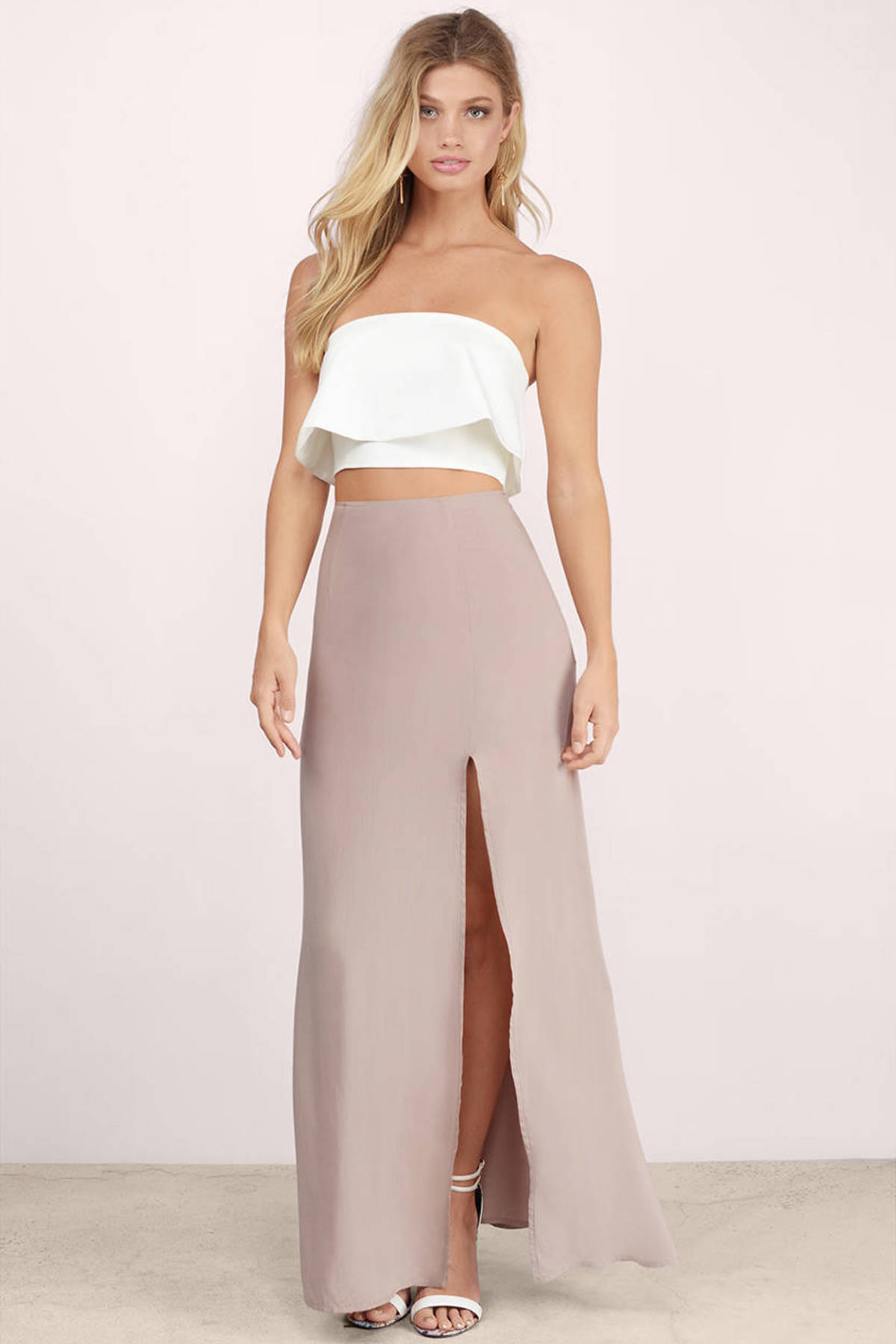 Trendy Taupe Skirt - Thigh High Slit Skirt - $17.00