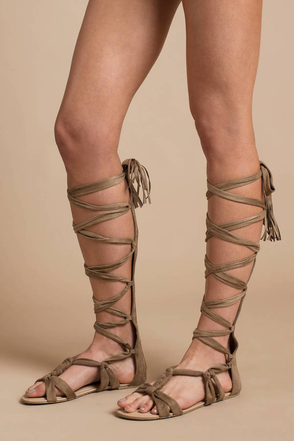 Black Tall Lace Up Sandals