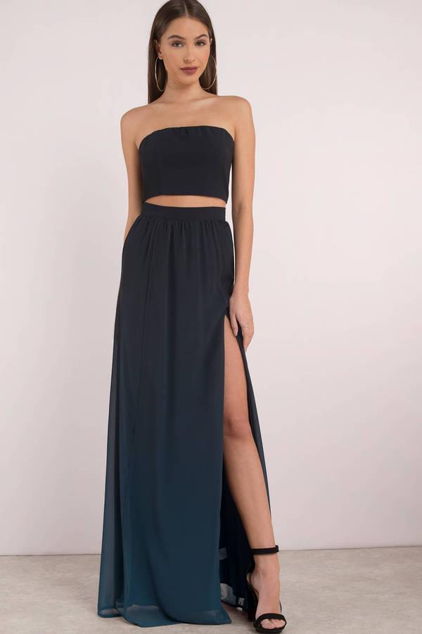 Maxi Skirts Teal Adalynn Ombre Skirt