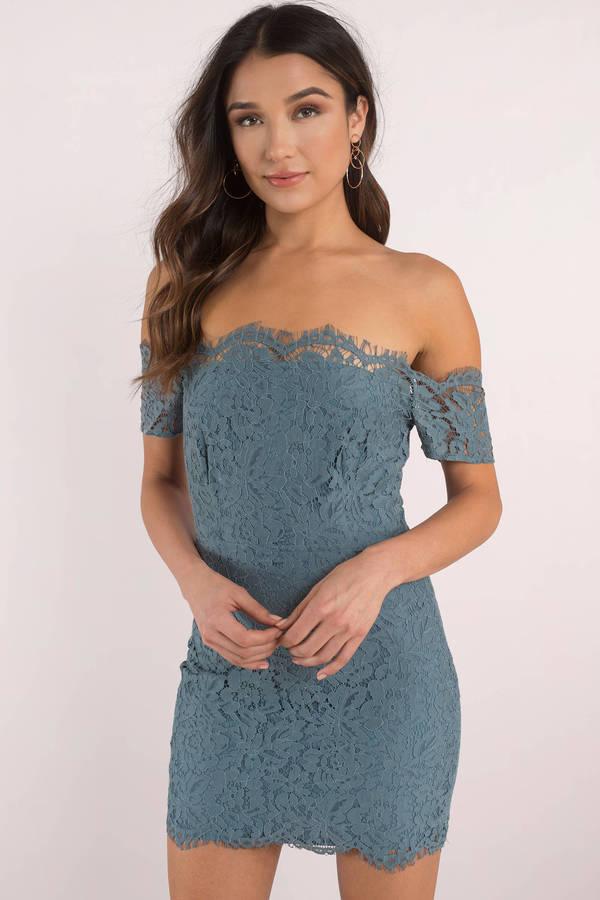 Blue cocktail dress lace