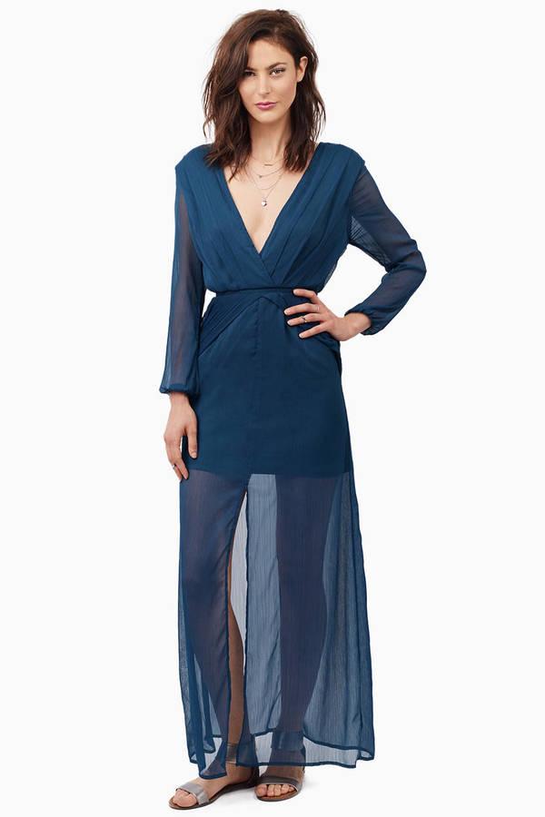 46738daaecdad Sexy Teal Dress - Pleated Dress - Pewter Long Dress - Maxi Dress - S ...