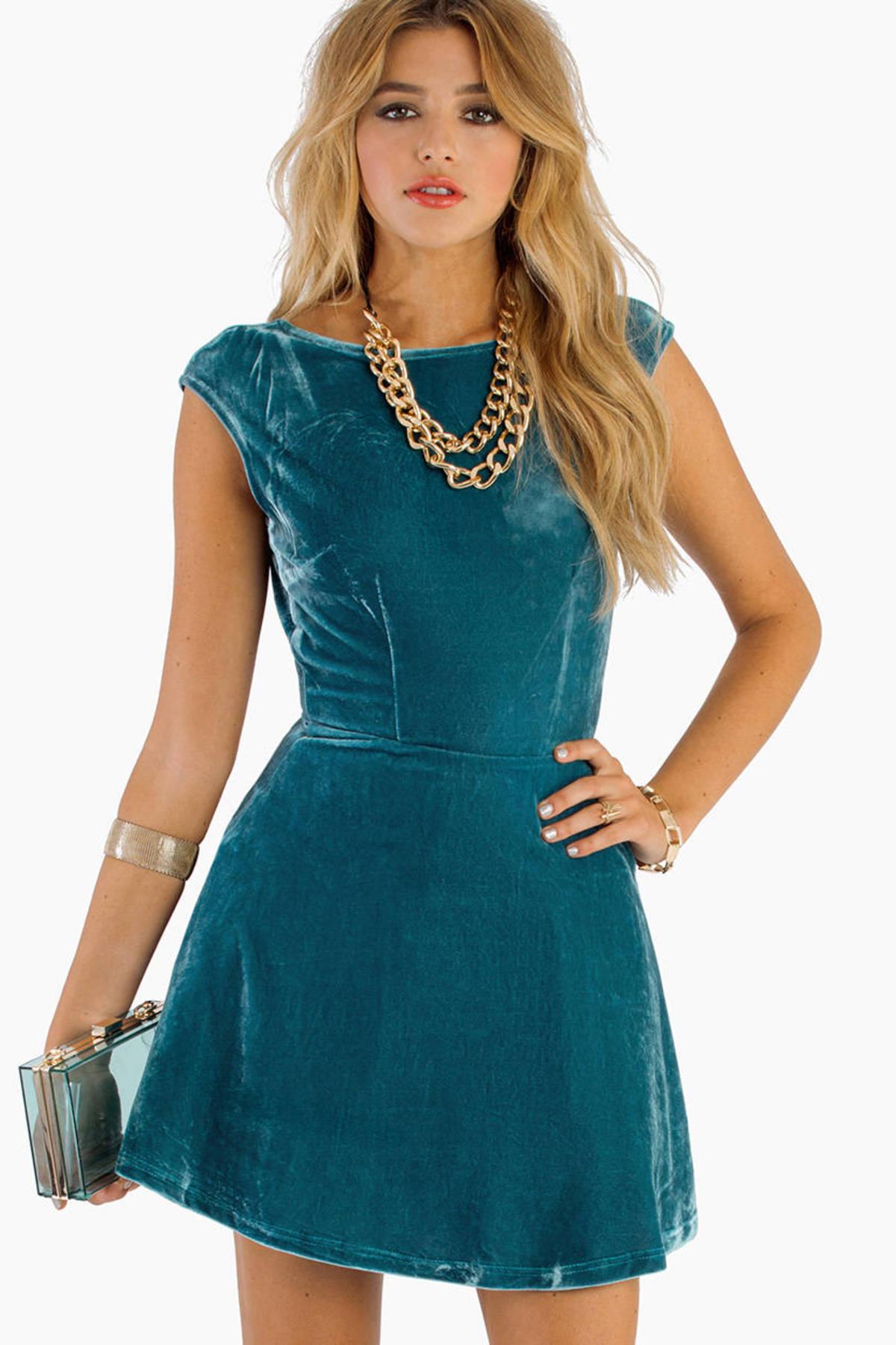 Teal Skater Dress - Blue Dress - Sleeveless Dress - $14.00