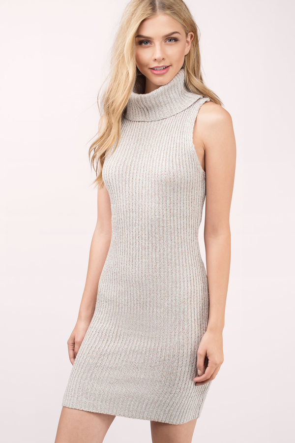 207377656304 Toast Day Dress - Beige Dress - Turtleneck Dress - Beige Day Dress ...
