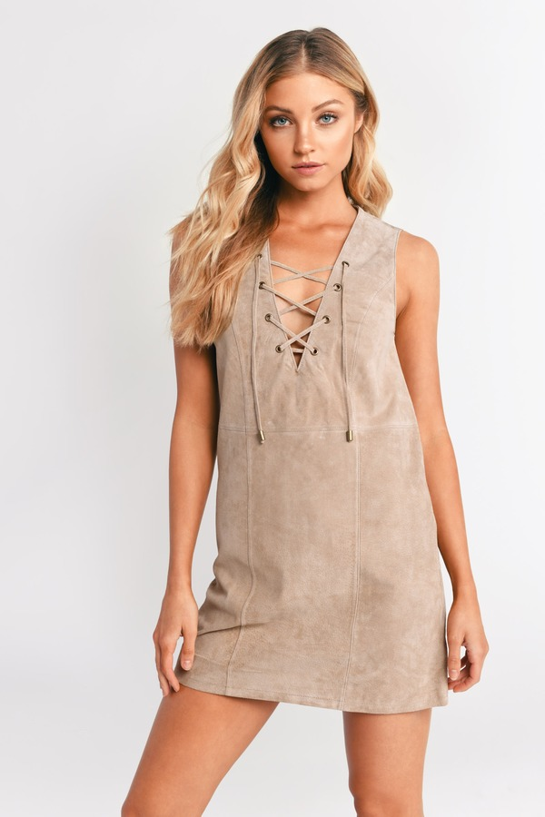 Lace It Genuine Toast Suede Shift Dress