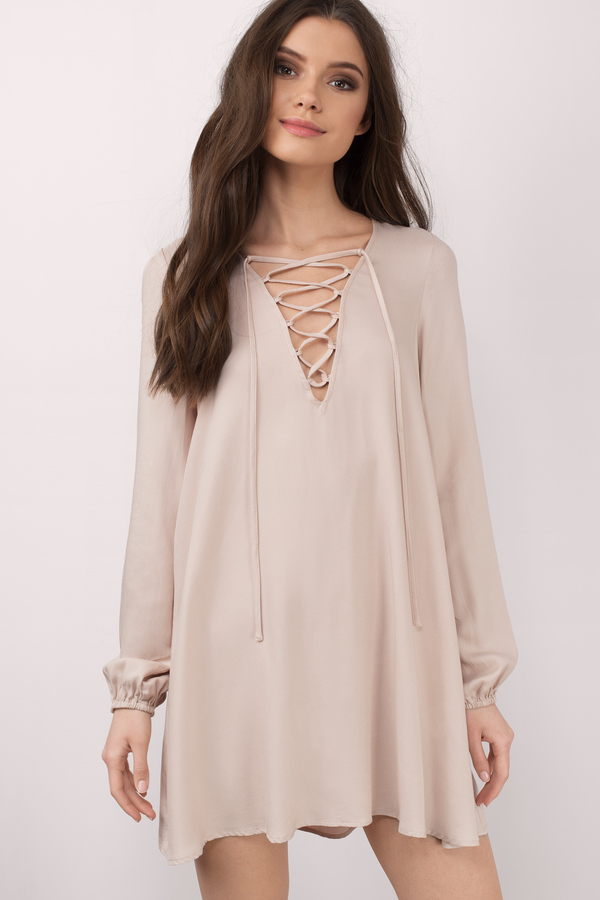 Toast Shift Dress - Beige Dress - Lace Up Dress - $58.00