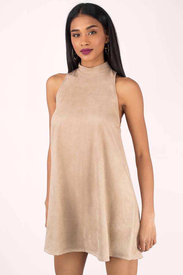 1d89f623f796c Beige Dress - Sleeveless Dress - Mock Neck Dress - Mini Dress -  17 ...