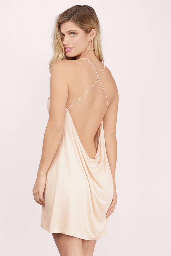 Sexy Toast Shift Dress - Backless Dress - Beige Dress - Shift Dress ...