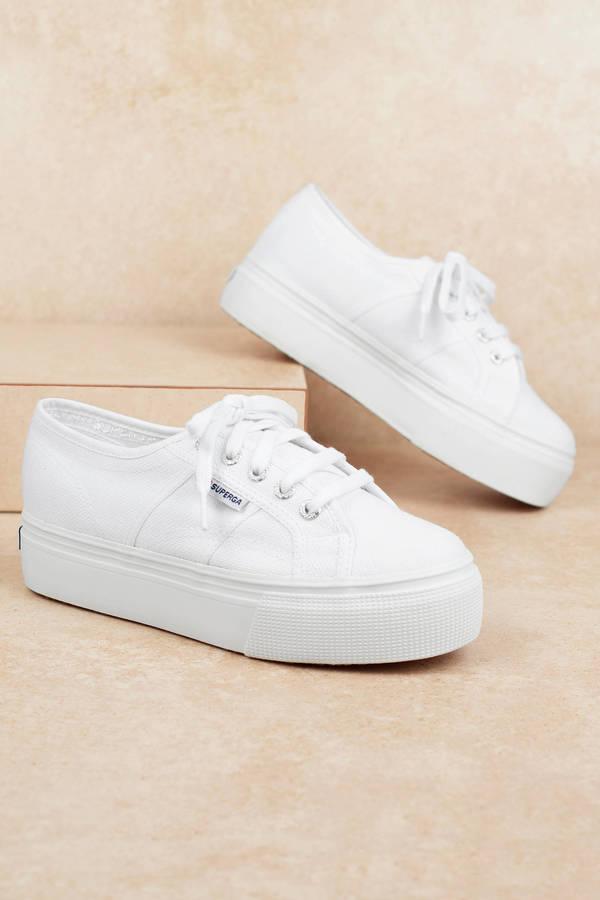 cf8e1fbd7563d White Superga Sneakers - Platform Sneakers - White Classic Sneakers ...