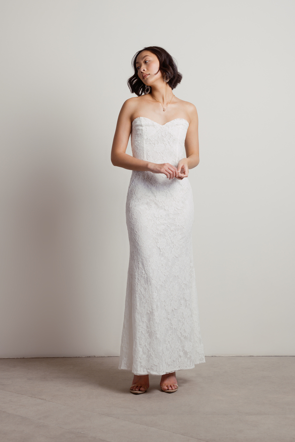 White Dress - Strapless Bridal Dress - White
