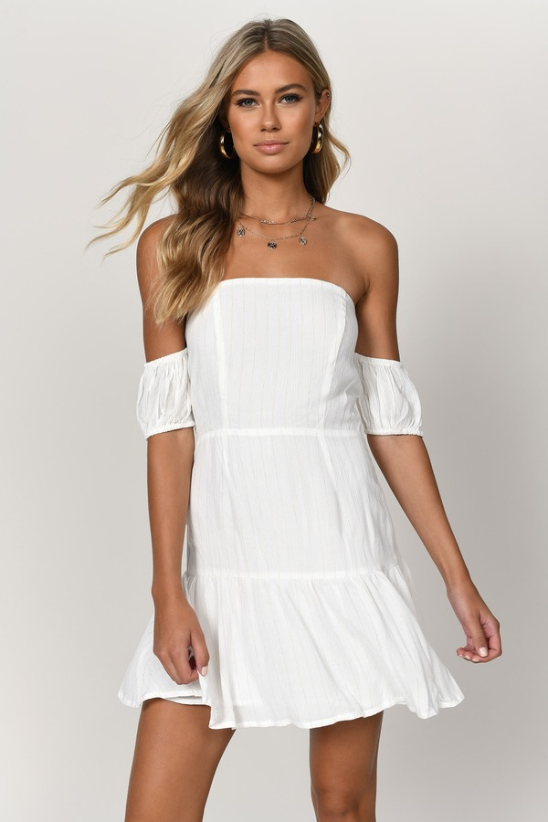 0eb0f0d83ab1 White Skater Dress - Nautical Striped Dress - Bardot Skater Dress ...