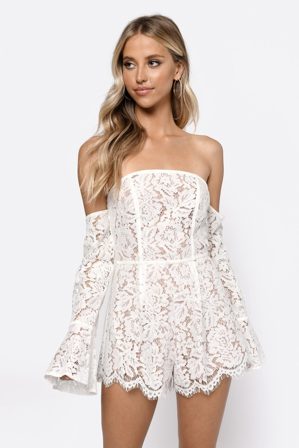 73f9406e69f White Romper - Off Shoulder Romper - White Lace Romper -  22
