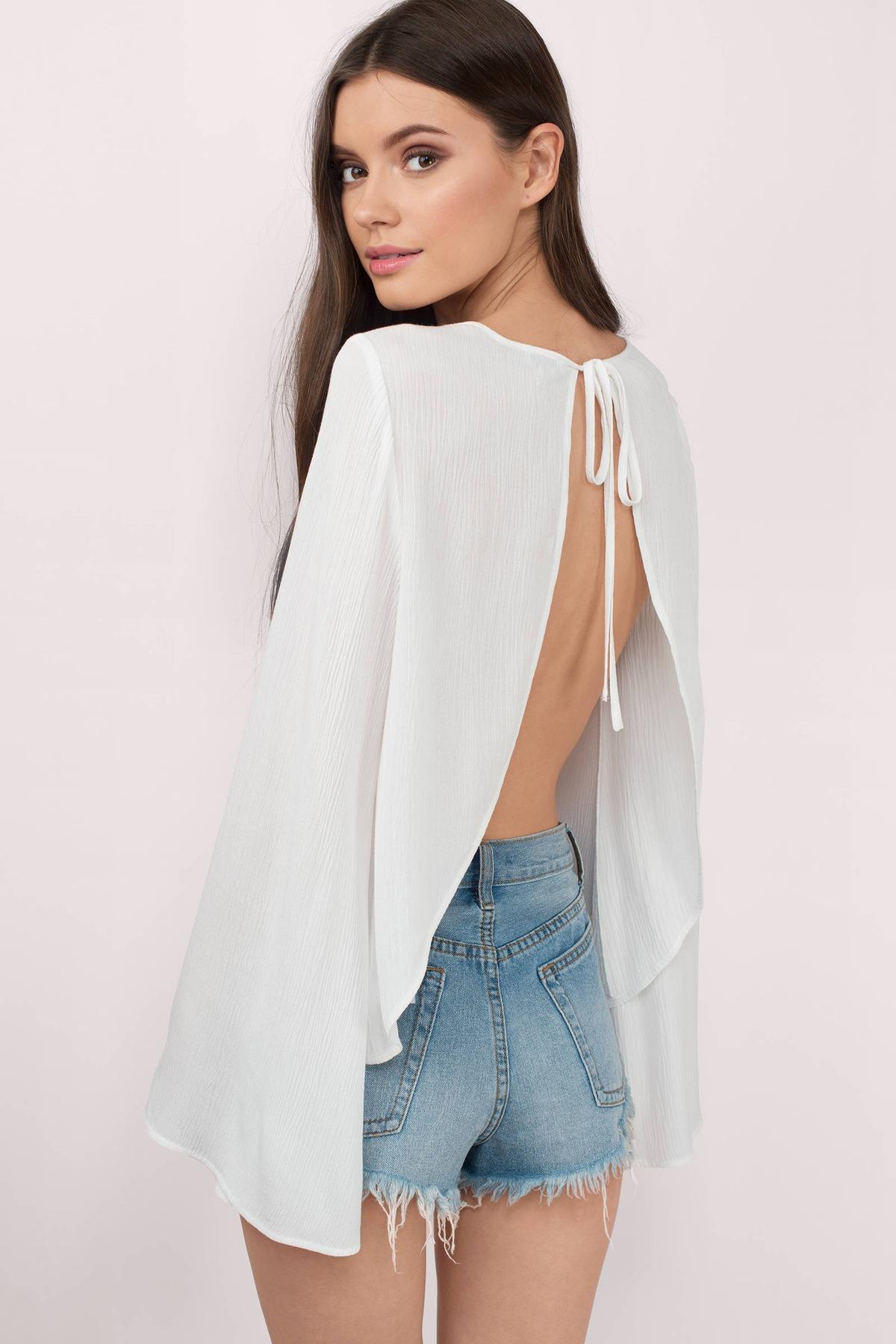 Cute White Blouse - Open Back Blouse - White Blouse - $48.00