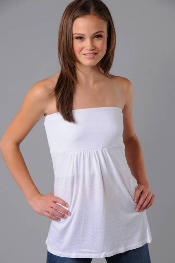 a003ed1faf2 White Michael Stars Top - Babydoll Tube Top - White Strapless Top ...