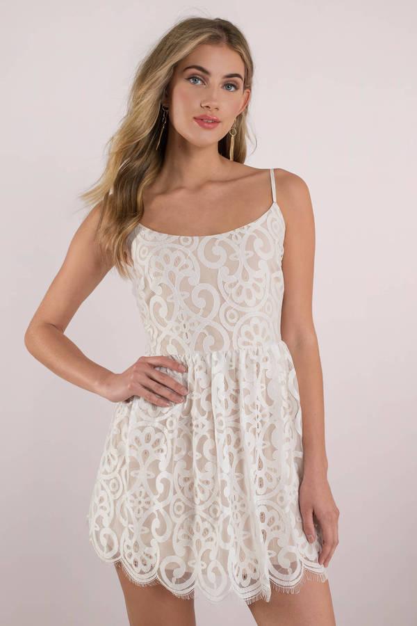 Wedding Guest Dresses White Bella Lace Skater Dress