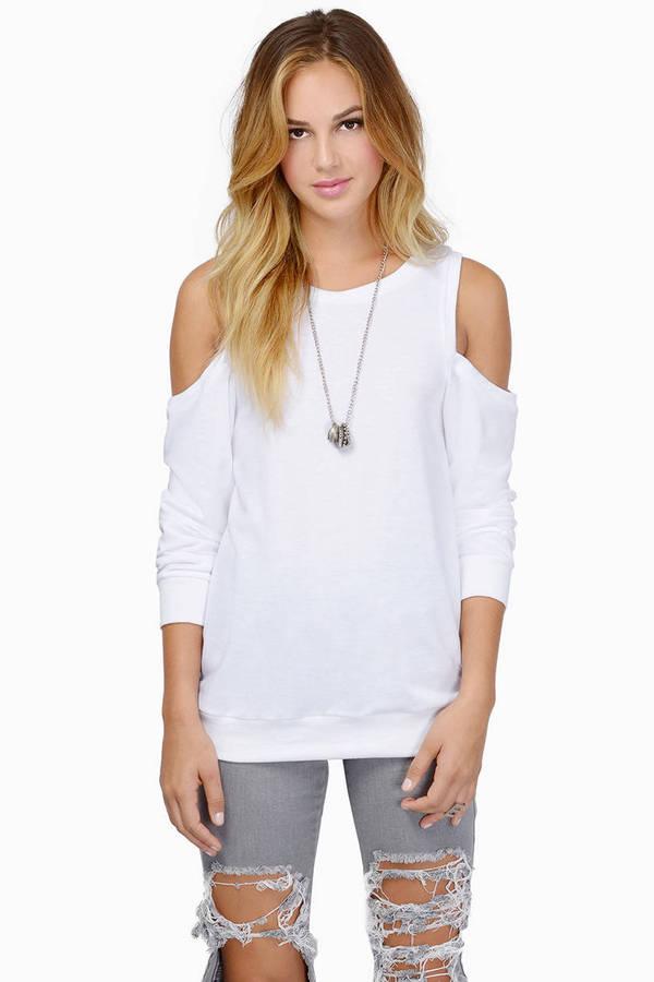 Crystal Cold Shoulder Sweater