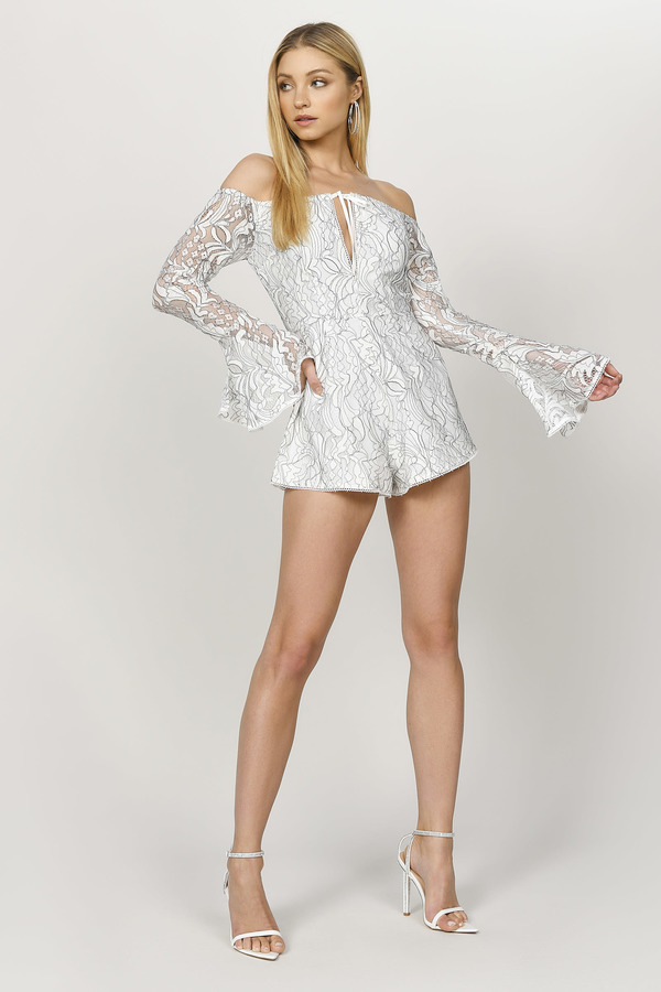 Rompers White Romper Cute Black Floral Sexy Long Sleeve Tobi