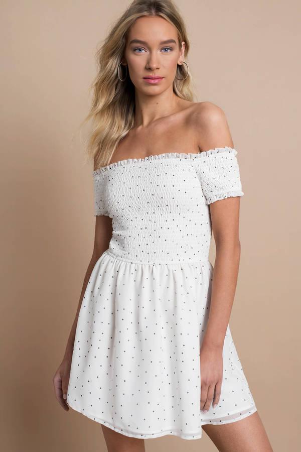 2228b034dd White Skater Dress - Short Sundress - White Bardot Skater Dress - C ...