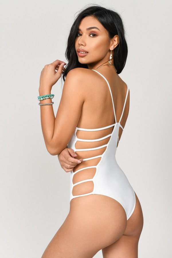 af59cd957fd85 Sexy White One Piece - Caged One Piece - White One Piece - 198 kr ...