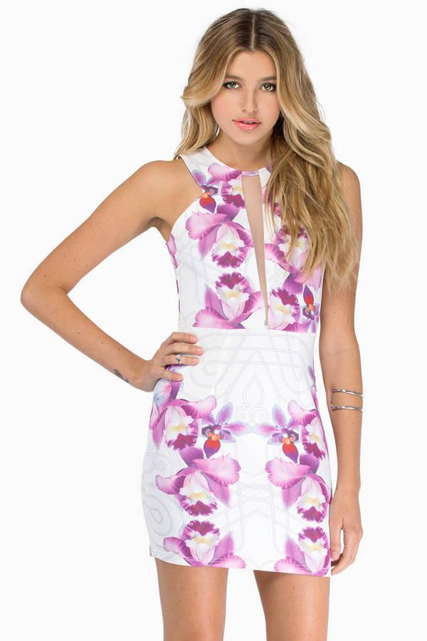 Falling Lilies Bodycon Dress