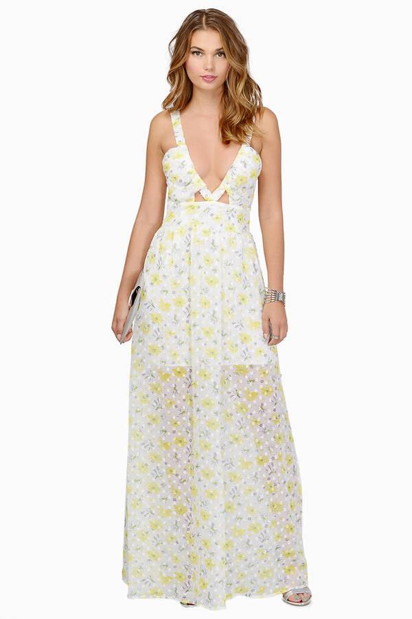 Flower White Fl Print Maxi Dress