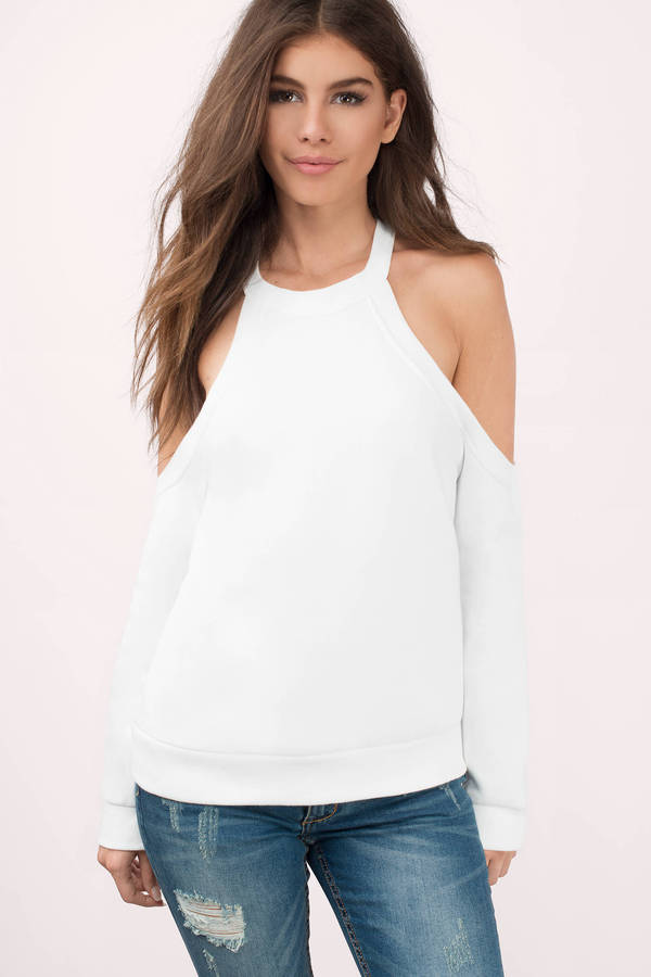 704b20de33265 White Sweater - Cold Shoulder Sweater - White Hoodie - C  52