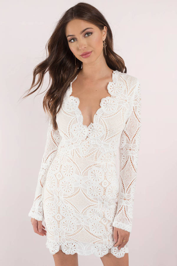eb1b8b9242d7 Sexy Dress - Long Sleeve - Plunging Neckline - White Dress - 222 kr ...