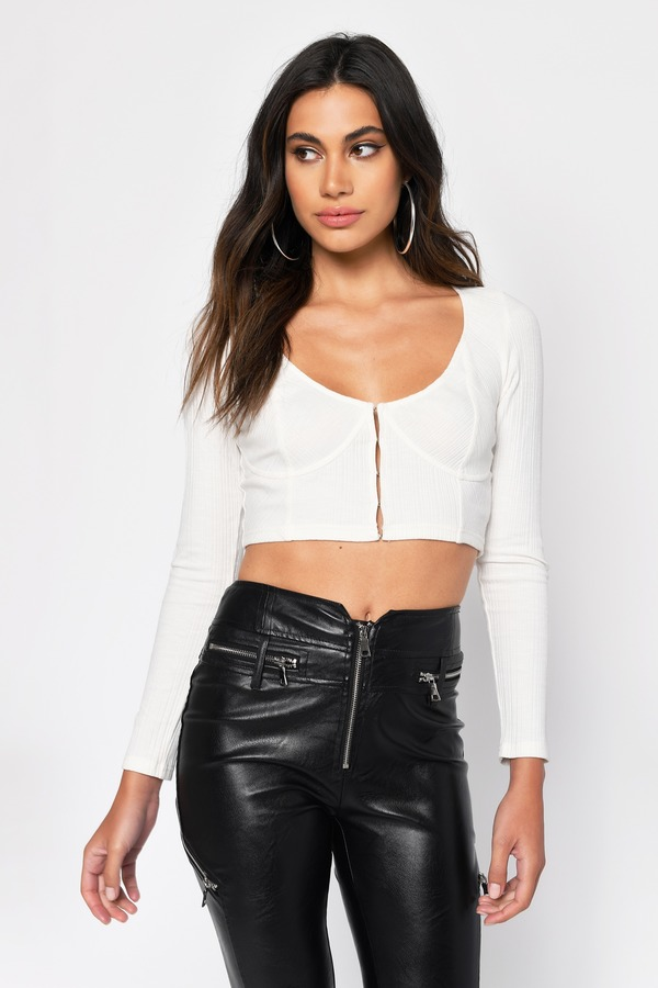 a33d722f178 Crop Tops | White Crop Tops, Black Crop Top, Lace, Long Sleeve | Tobi