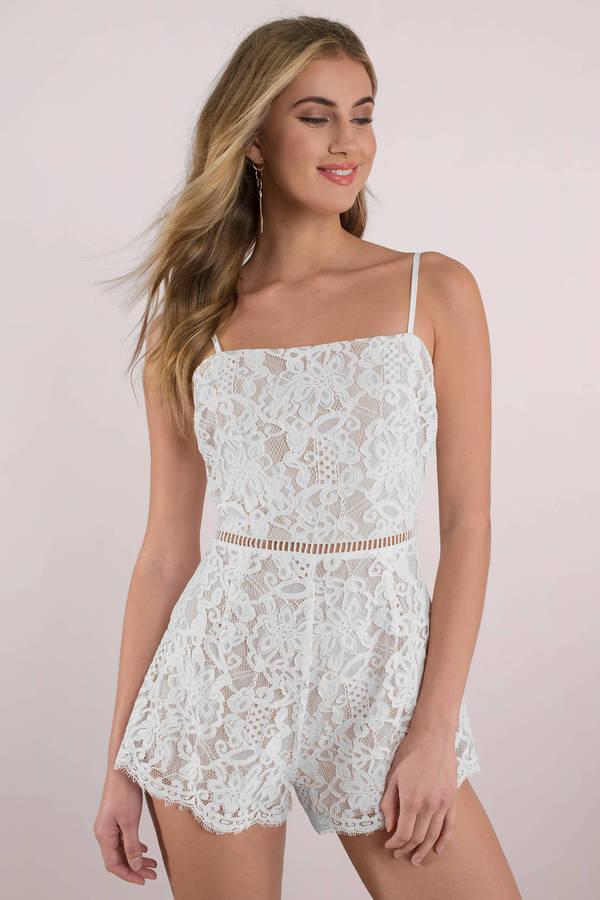 4578f4109132 White Romper - Lace Romper - White Cami Romper - Chic Romper - C  57 ...
