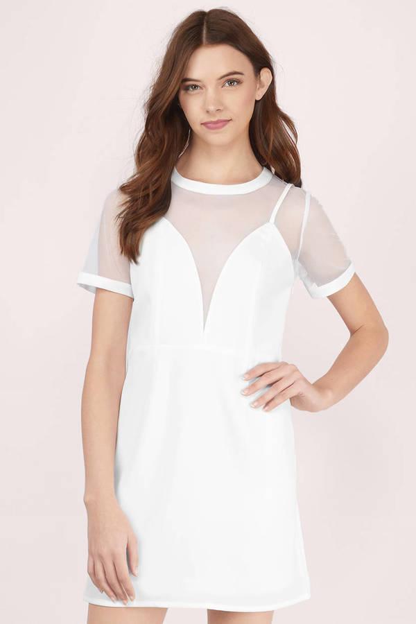 Sheath Dresses | White, Black, Lace, Long Sleeve, Red, Blue | Tobi