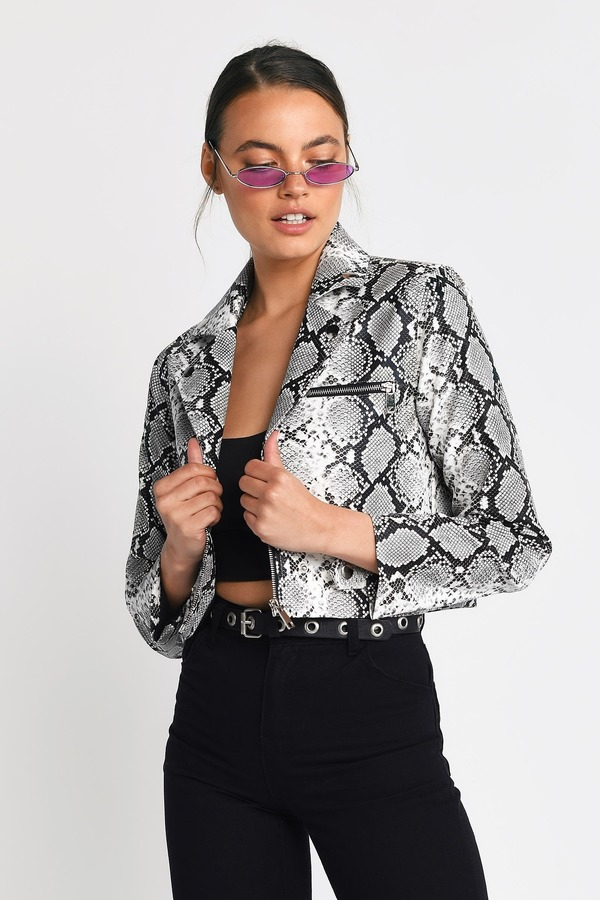 4daad95646 Jackets, White Multi, Trussst Me Snake Effect Cropped Jacket, ...
