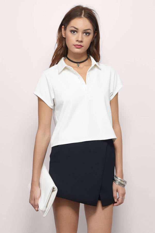 White crop top white top collared top white polo for Cropped white collared shirt